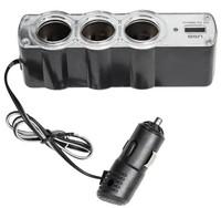 Разветвитель автоприкуривателя TDS TS-CAU24 (3 выхода + 1 USB)