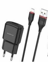 Сетевое зарядное устройство USB, Borofone Orion BA48A, 2.1A, 1xUSB, + кабель microUSB, черный