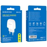 Сетевое зарядное устройство USB, Borofone Vast BA49A, 2.1A, 1xUSB, белый
