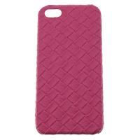 Чехол-накладка на Apple iPhone 5/5S, пластик, плетеный, розовый