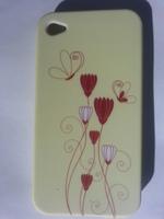 Чехол-накладка на Apple iPhone 4/4S, силикон, paint flowers 1