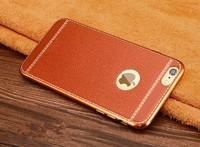 Чехол-накладка на Apple iPhone 6/6S, силикон, под кожу, золот. окантовка, светло-коричневый