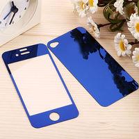 Цветное защитное стекло для Apple iPhone 4/4S комплект, синий