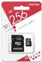 Карта памяти MicroSDHC 256GB Smart Buy, Class 10 (с SD адаптером)
