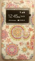 """Чехол-книжка универсальная, силик.бампер, S-view 4.3""""-4.8"""", цветной, орнамент"""