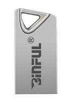 Память USB 2.0 Flash, 16GB, BiNFUL, металл, Style 2, серебристый