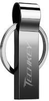 Память USB 2.0 Flash, 16GB, Techkey, металл, с кольцом, черный