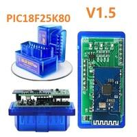 Диагностический сканер ELM327 OBD2 v.1.5, Bluetooth, 2 платы, синий, 25K80, bpack