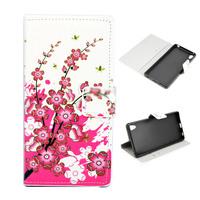 Чехол-книжка на Sony Xperia Z4 полиуретан, цветы
