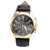 Часы наручные Geneva, ц.черный, р.черный, кожа Д02108