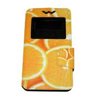 """Чехол-книжка универсальная, силик.бампер, S-view 3.5""""-4.0"""", цветной, orange"""