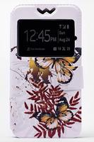 """Чехол-книжка универсальная, силик.бампер, S-view 4.5""""-5.0"""", цветной, бабочки"""