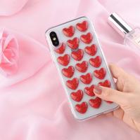 Чехол-накладка на Apple iPhone X/Xs, силикон, 3D, сердца, красный