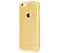 Чехол-накладка на Apple iPhone 6/6S, силикон, блестящий, кристаллы, золотистый