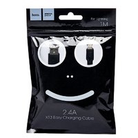 Кабель для iPhone 8pin, Hoco X13 Easy, 2.4А, силикон, 1м, черный