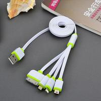 Набор кабелей, 4 в 1, microusb, microusb 3.0, iphone 4, iphone 5/6/7, зеленый