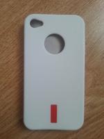 Чехол-накладка на Apple iPhone 4/4S, силикон, red, белый