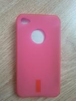 Чехол-накладка на Apple iPhone 4/4S, силикон, red, розовый