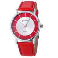 Часы наручные Geneva, ц.красный, р.красный, кожа