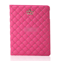 Чехол Smart-cover для Apple iPad Air, кожа, стразы и корона, розовый