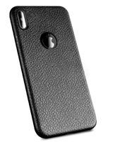 Чехол-накладка на Apple iPhone XS Max, силикон, под кожу, с вырезом, черный