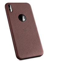 Чехол-накладка на Apple iPhone XS Max, силикон, под кожу, с вырезом, коричневый