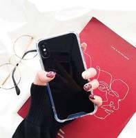 Чехол-накладка на Apple iPhone X/Xs, силикон, зеркальный, черный