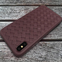 Чехол-накладка на Apple iPhone X/Xs, силикон, под кожу, плетеный, коричневый