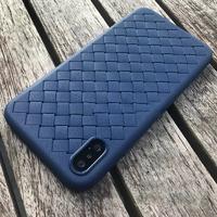 Чехол-накладка на Apple iPhone XS Max, силикон, под кожу, плетеный, синий