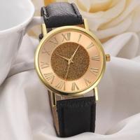 Часы наручные Noname, ц.золотистый, р.черный, кожа Д02689
