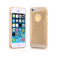 Чехол-накладка на Apple iPhone 4/4S, силикон, блестящий,  золотистый
