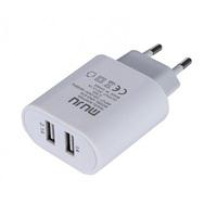 Сетевое зарядное устройство USB, MUJU UNS-616, 3.1A, 2xUSB, белый/черный