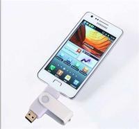 Память USB 2.0 Flash, вращающ, +microUSB, белая, 32 Gb