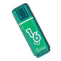Память USB 2.0 Flash, 16GB, Smart Buy Glossy series Green